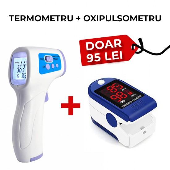 Pachet - Pulsoximetru universal + Termometru Infrarosu Digital